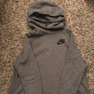 Grey Nike hoodie with cowl neck hood